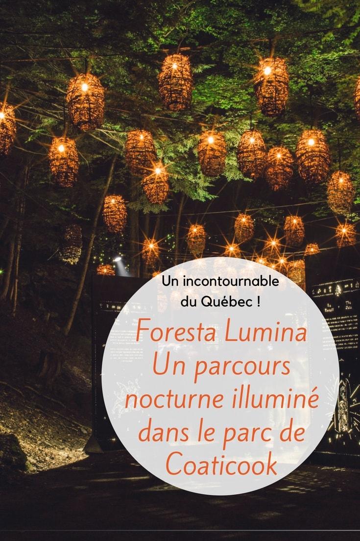 Visite du parc de Coaticook et Foresta Lumina ; parc de jour et magie de nuit : nos photographies et impressions. Vogot vous fait découvrir ce lieu à travers les cinq sens.