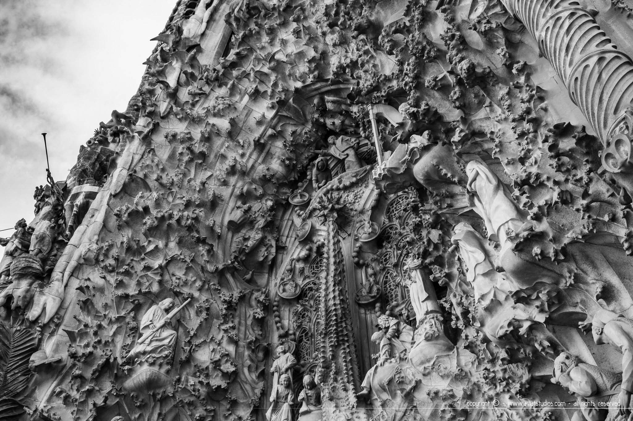 Détail de la façade extérieure de la Sagrada Familia.