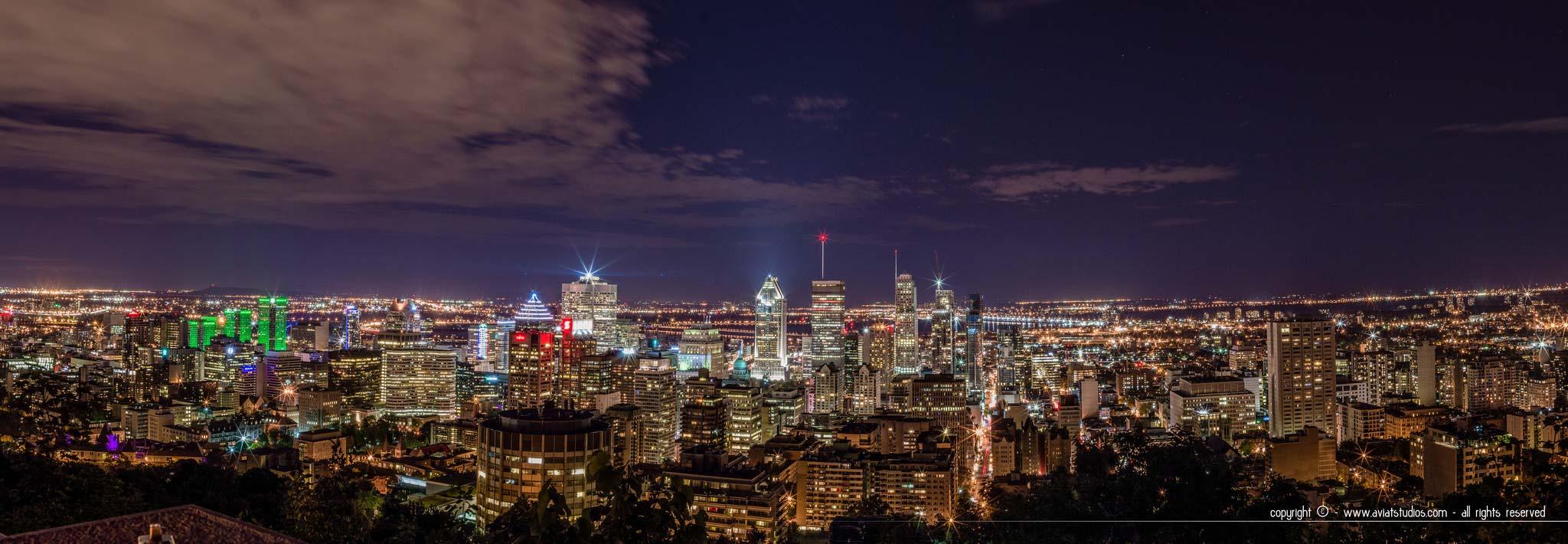 Voyage à Montréal - Vue panoramique nocturne