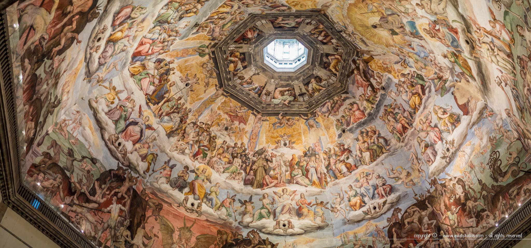 Santa Maria del Fiore - Les fresques du jugement dernier par Vasari et Zuccari