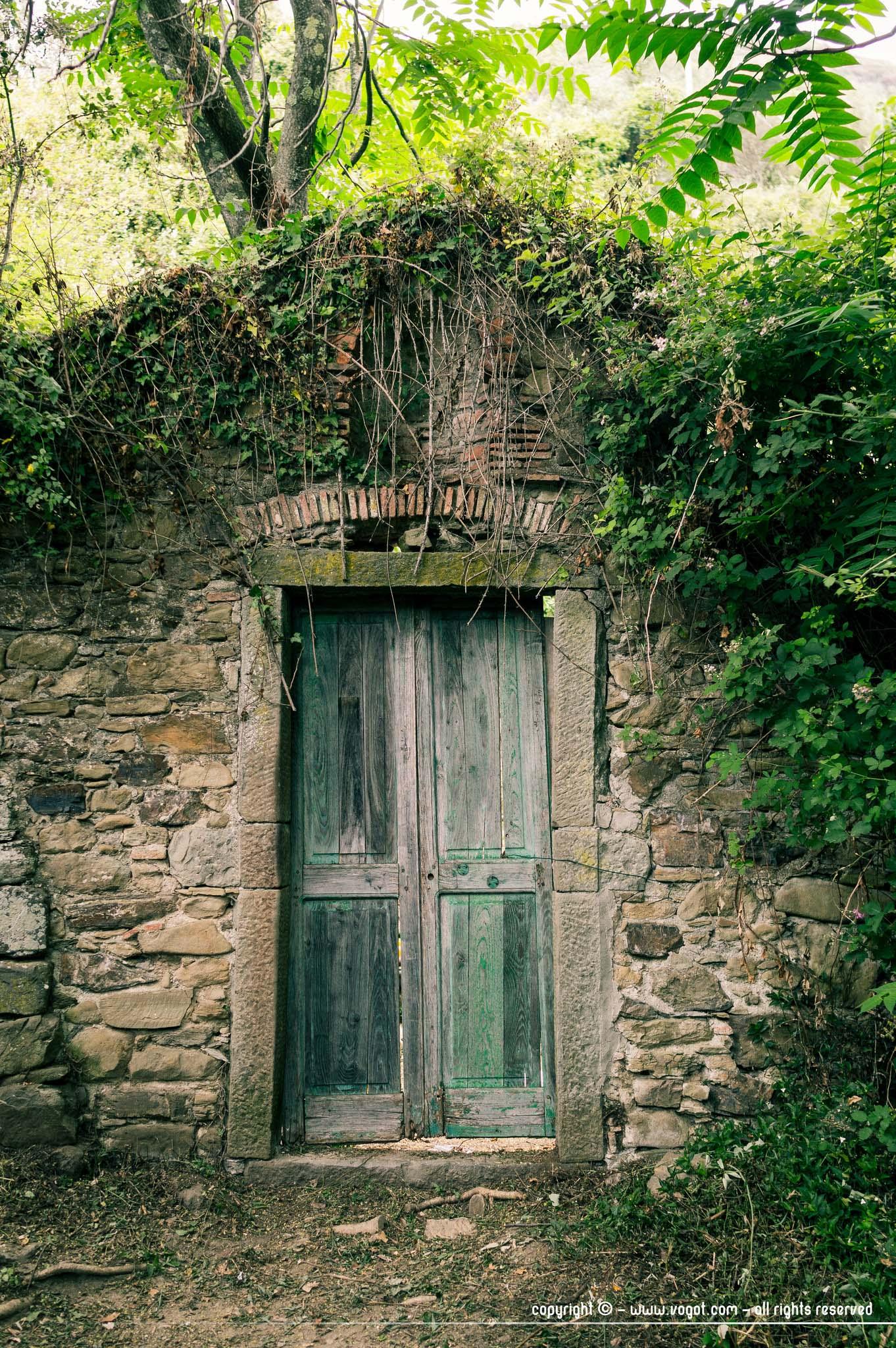 Une porte en bois vieilli dans un mur en pierre envahi de végétation sur le sentier azzurro