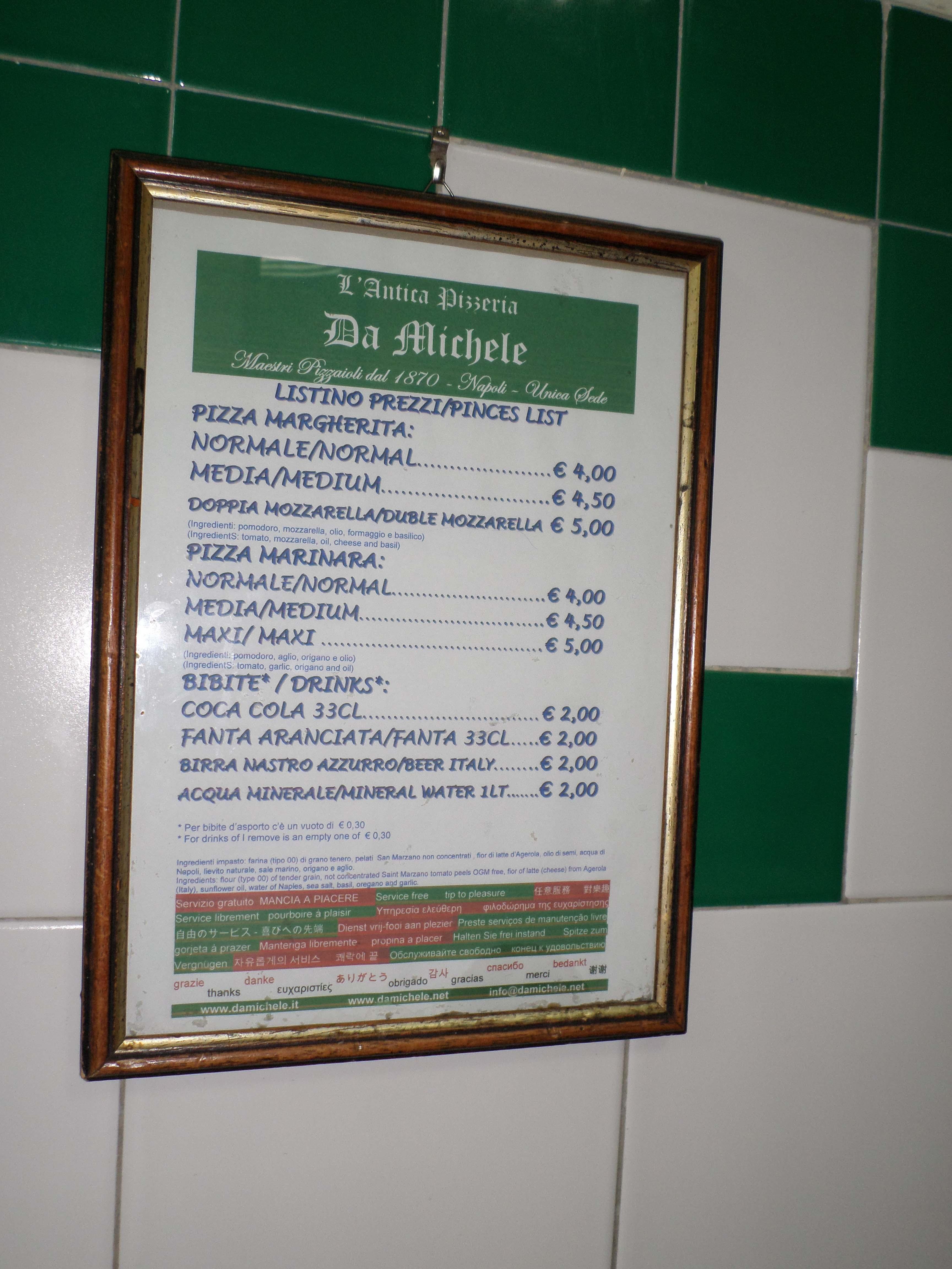tarifs de la Pizzeria Da Michele de Naples
