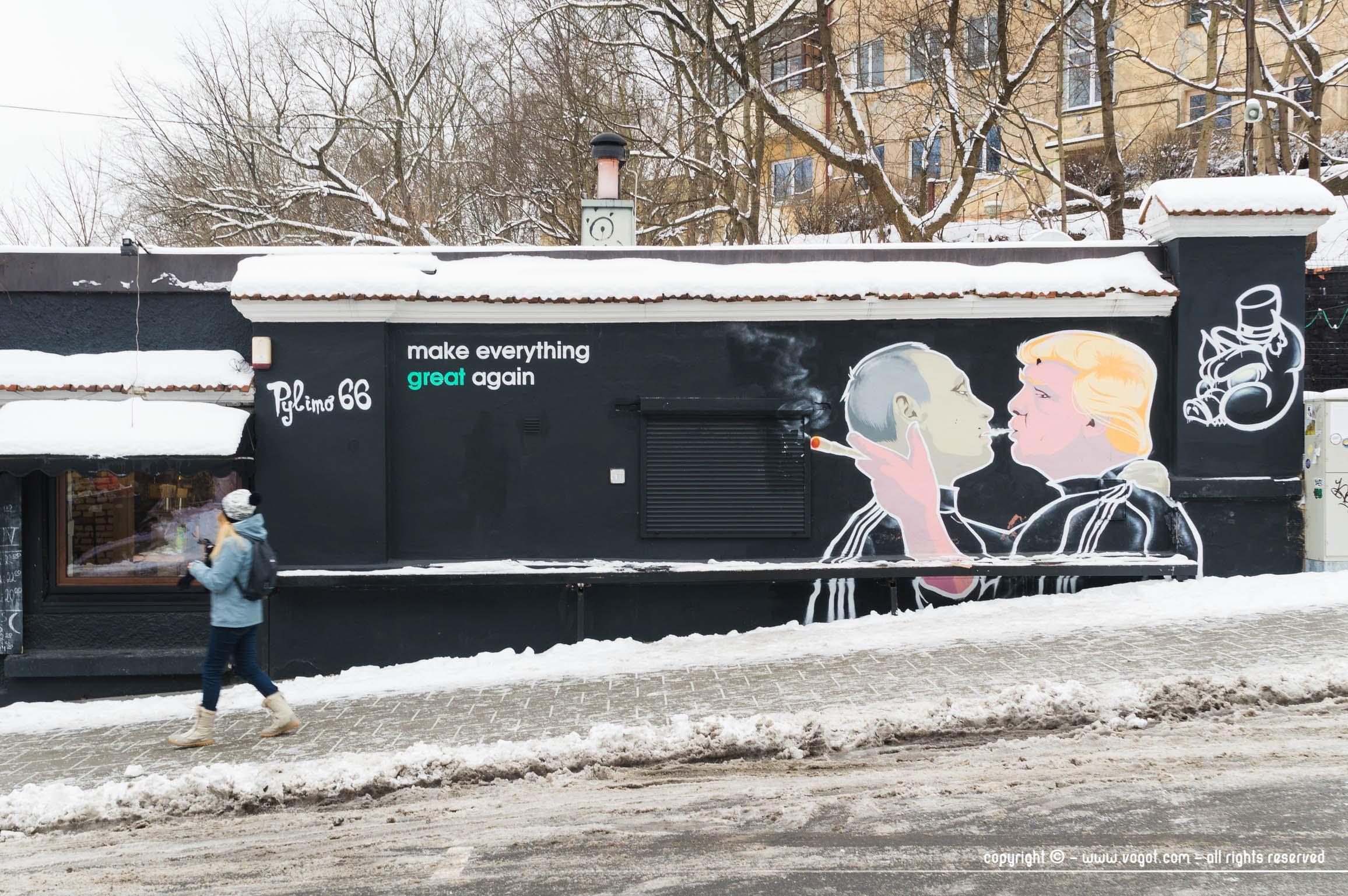 une semaine à Vilnius - Street Art de Trump et Poutine - Keule Ruke