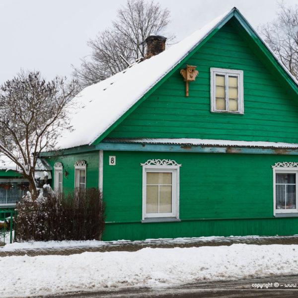 Trakai en hiver - maison traditionnelle en bois, toute verte