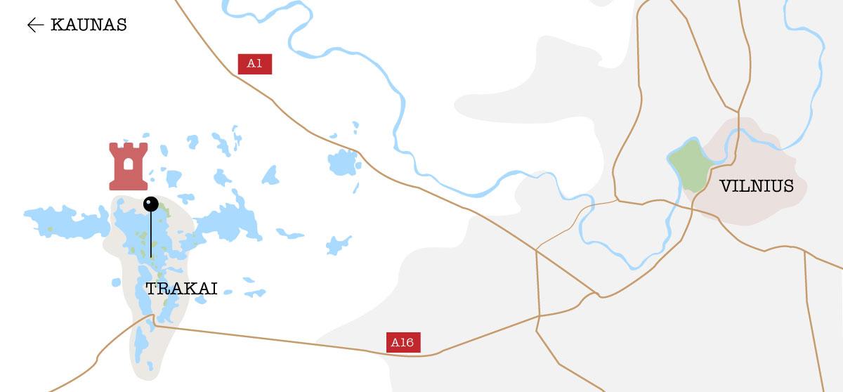 Carte schématisée de Trakai et Vilnus