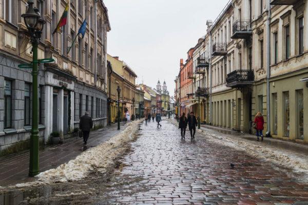 Une journée à Kaunas - rue Vilniaus, charmante rue piétonne pavée