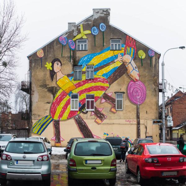 Street art d'un dessin d'enfant à Kaunas