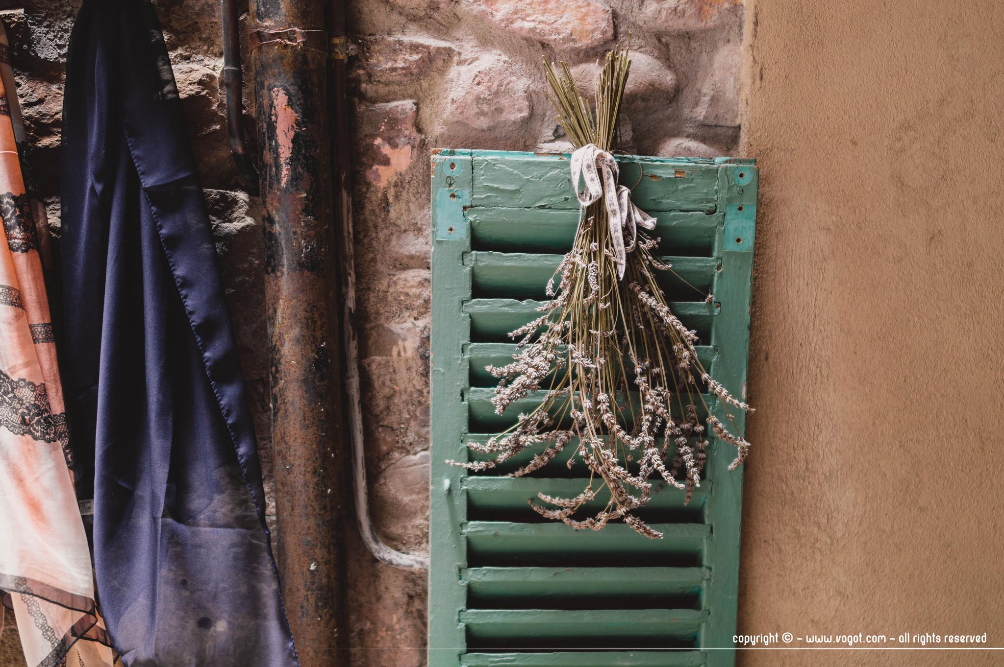 dolceacqua - détail d'un bouquet de lavande suspendu sur un volet vert