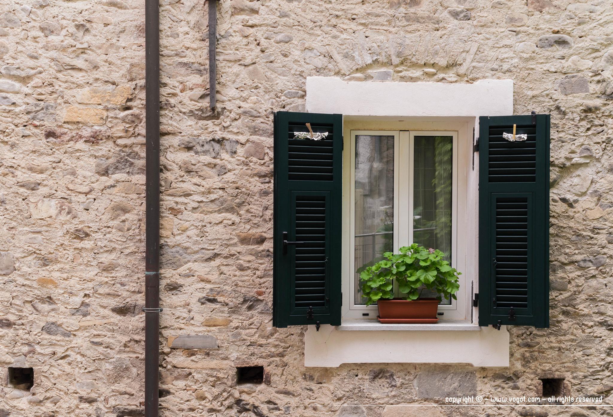 dolceacqua - une fenêtre aux volets verts sur un mur de pierre