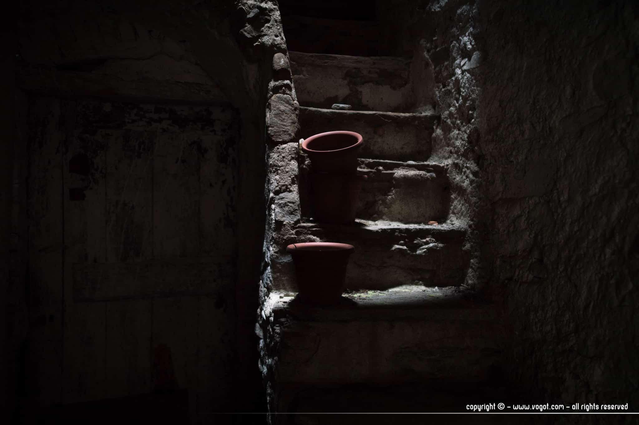 Des pots en terre cuite sur un vieil escalier reçoivent un peu de lumière - Dolceacqua